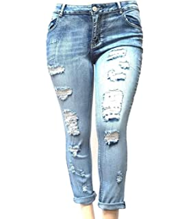 cdb1562a Jack David Womens Plus Size Ripped Destroy Blue Denim Roll up Distressed Jeans  Pants