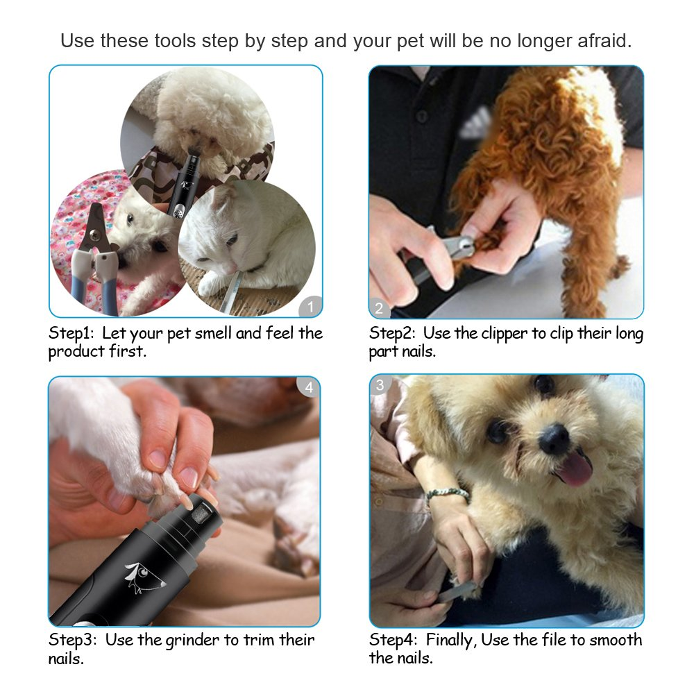 AMIR Full Set Rechargeable Pet Nail Grinder, High-Powered Electric Gentle Paws Nail Grinder Kit, With Clippers and Trimmer, Professional Grooming Kit for Dogs, Cats & All Other Pets by AMIR (Image #6)