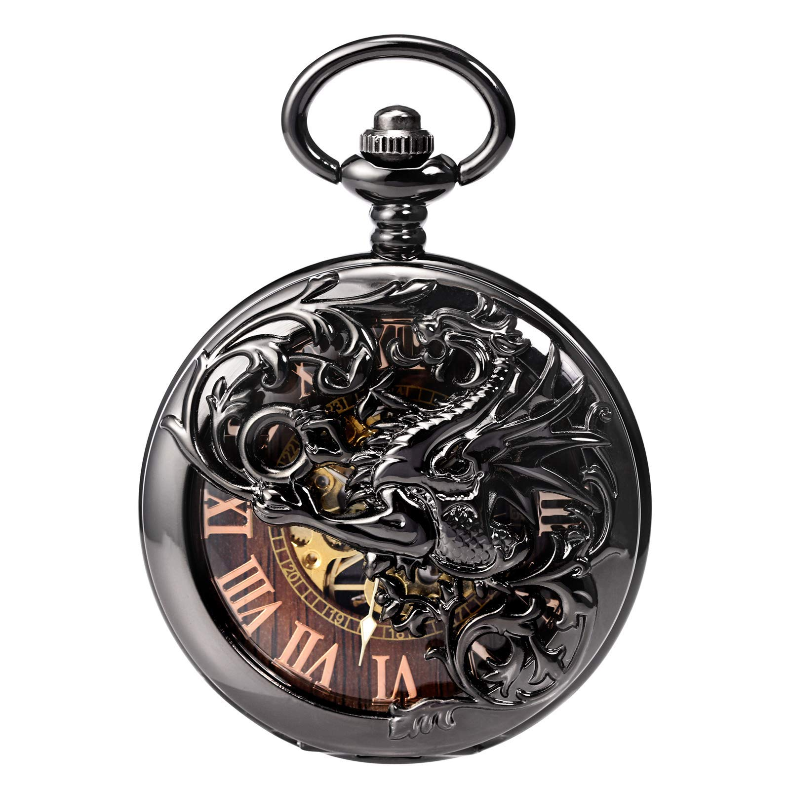 Treeweto Antique Dragon Mechanical Skeleton Pocket Watch with Chain by TREEWETO (Image #3)