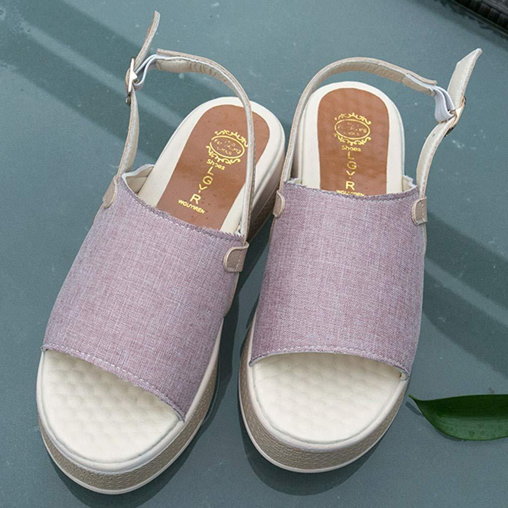 Lurryly Womens Vintage Roman Flat Sandals Buckle Platform Open Toe Ankle Strap Sandals