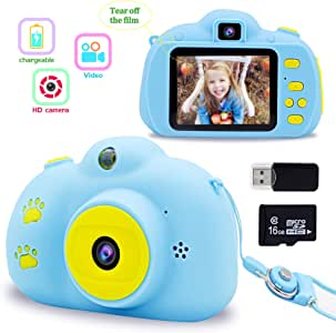 Gifts for 3 4 5 6 Year Old Girls Boys Byserten Kids Camera 8.0 MP Digital Cameras for Kids Video Recorder 2.0 inch HD Screen Rechargeable with 16GB Micro SD Card Christmas Birthday Gifts Blue