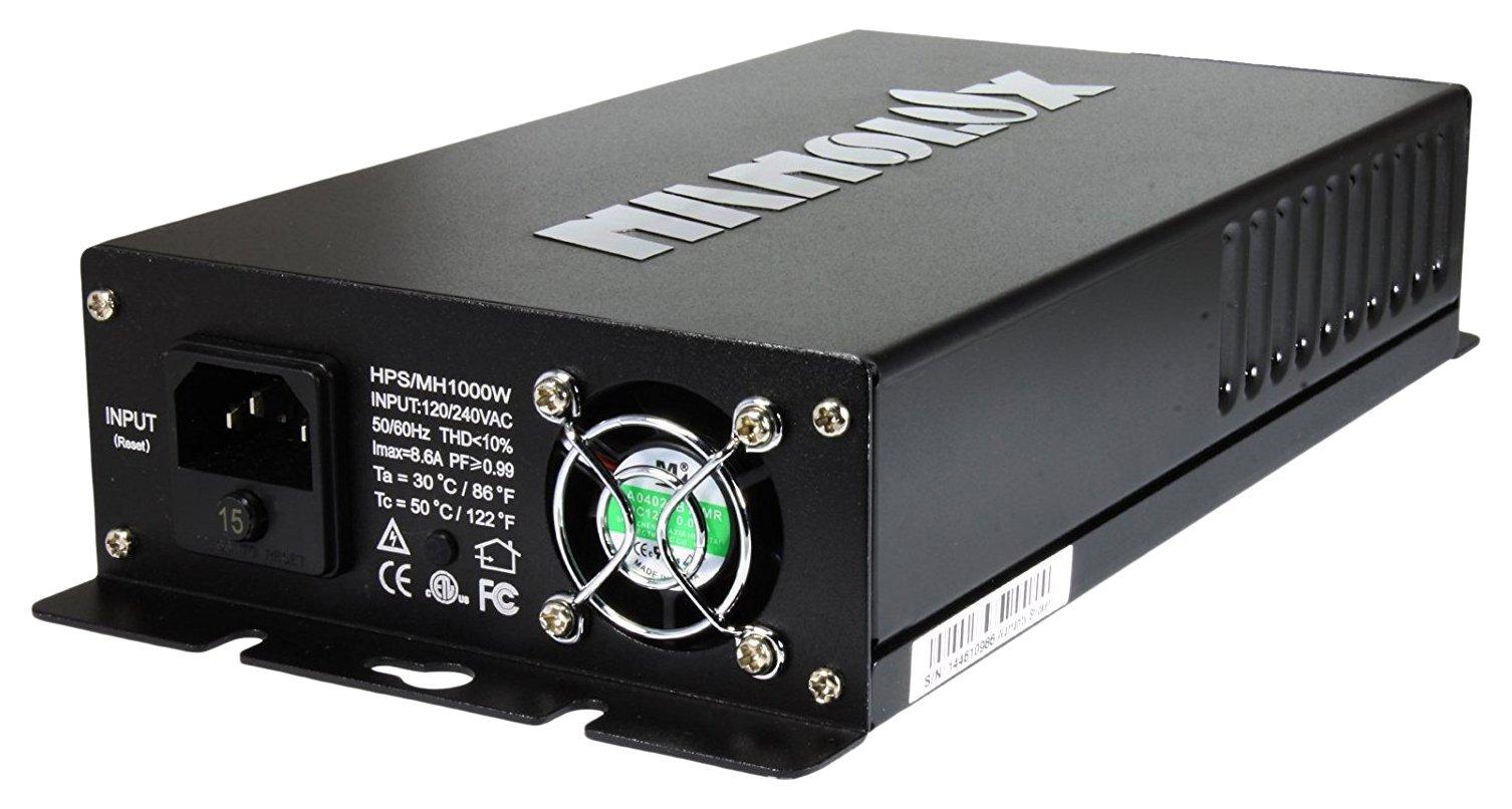 Nanolux OG-1000W Dimmable Digital Grow Light E-Ballast, Black