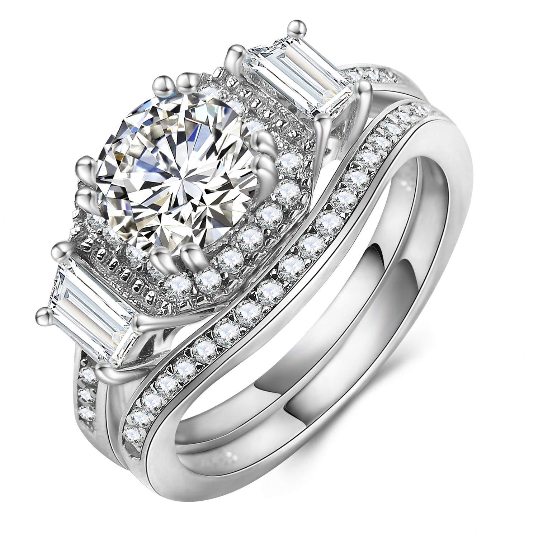 Mars wings Sterling Silver Rhodium Plated Cubic Zirconia CZ Vintage Engagement Wedding Ring Set 2PCS|3PCS