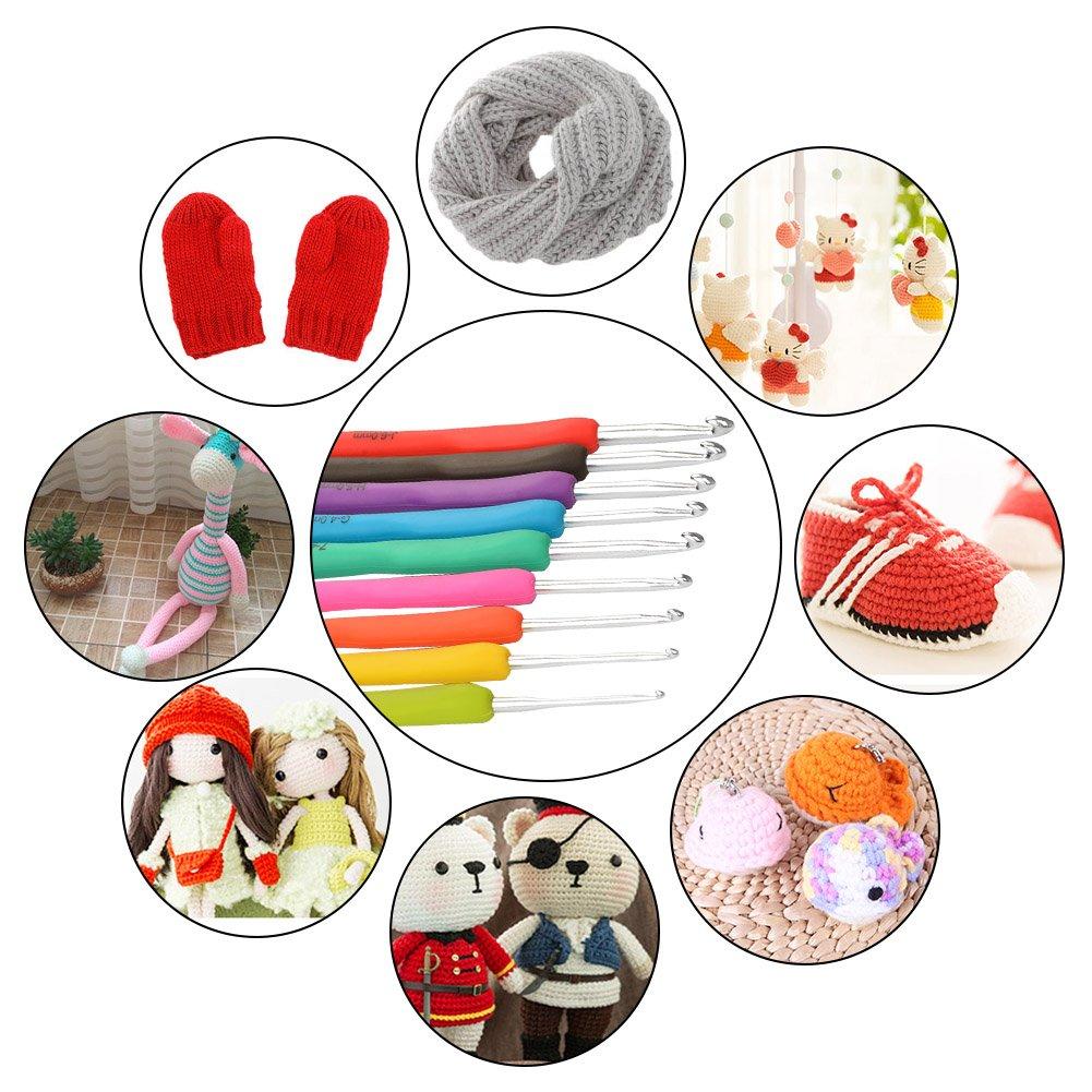 TIMESETL 72Pack Ergonomic Crochet Kit, Painless Soft Grip Crochet Hooks 2-6mm, Aluminum Knitting Needle 0.6-1.9mm, Complete Accessories with Double Zipper Case for Beginner by LETS MEETi (Image #7)