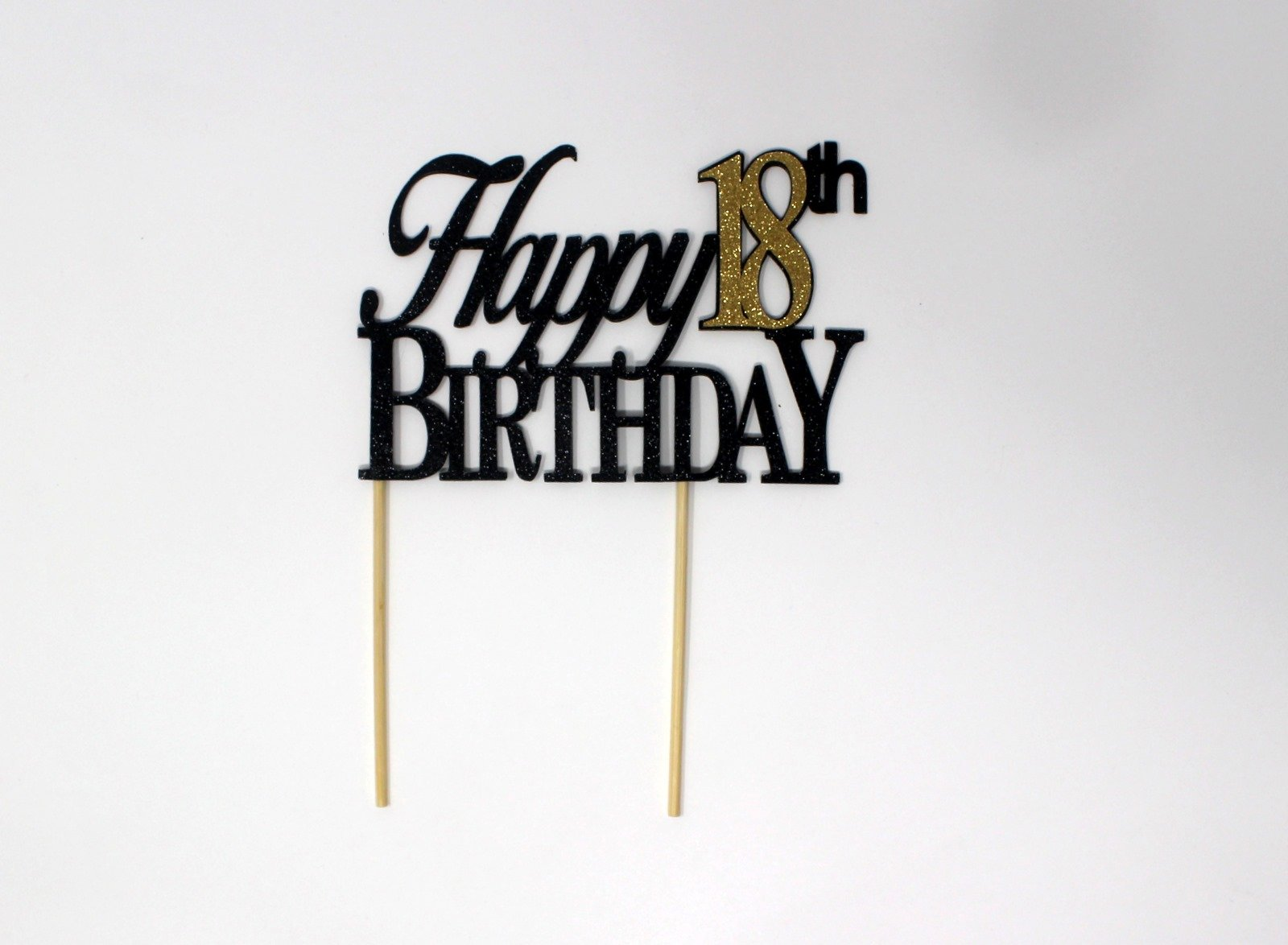 All About Details CATH18BBGO Happy, 1pc, 18th Birthday, Cake, Party Decor, Glitter Topper (Black & Gold), 4in Tall (Plus 2pcs of 4-in Wood skewers) & 6-in Wide by All About Details (Image #2)