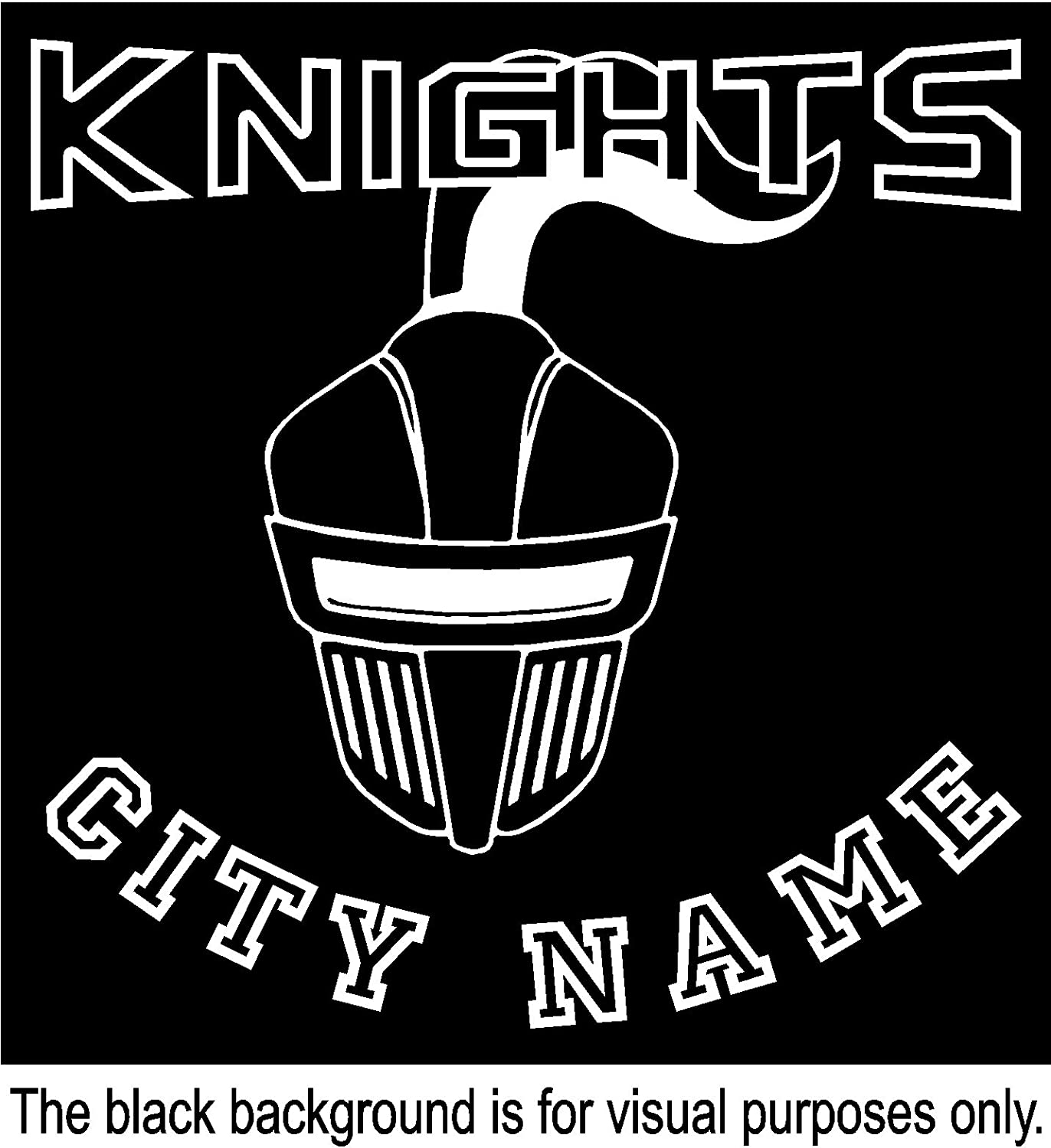 Knights Helmet Forward Sport Team Mascot City Name Custom Customize Decal Sticker Vinyl Car Window Tumblers Wall Laptops Cellphones Phones Tablets Ipads Helmets Motorcycles V and T Gifts