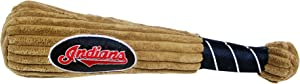 MLB CLEVELAND INDIANS Baseball Bat Toy for DOGS & CATS. Soft Corduroy Plush with Inner SQUEAKER