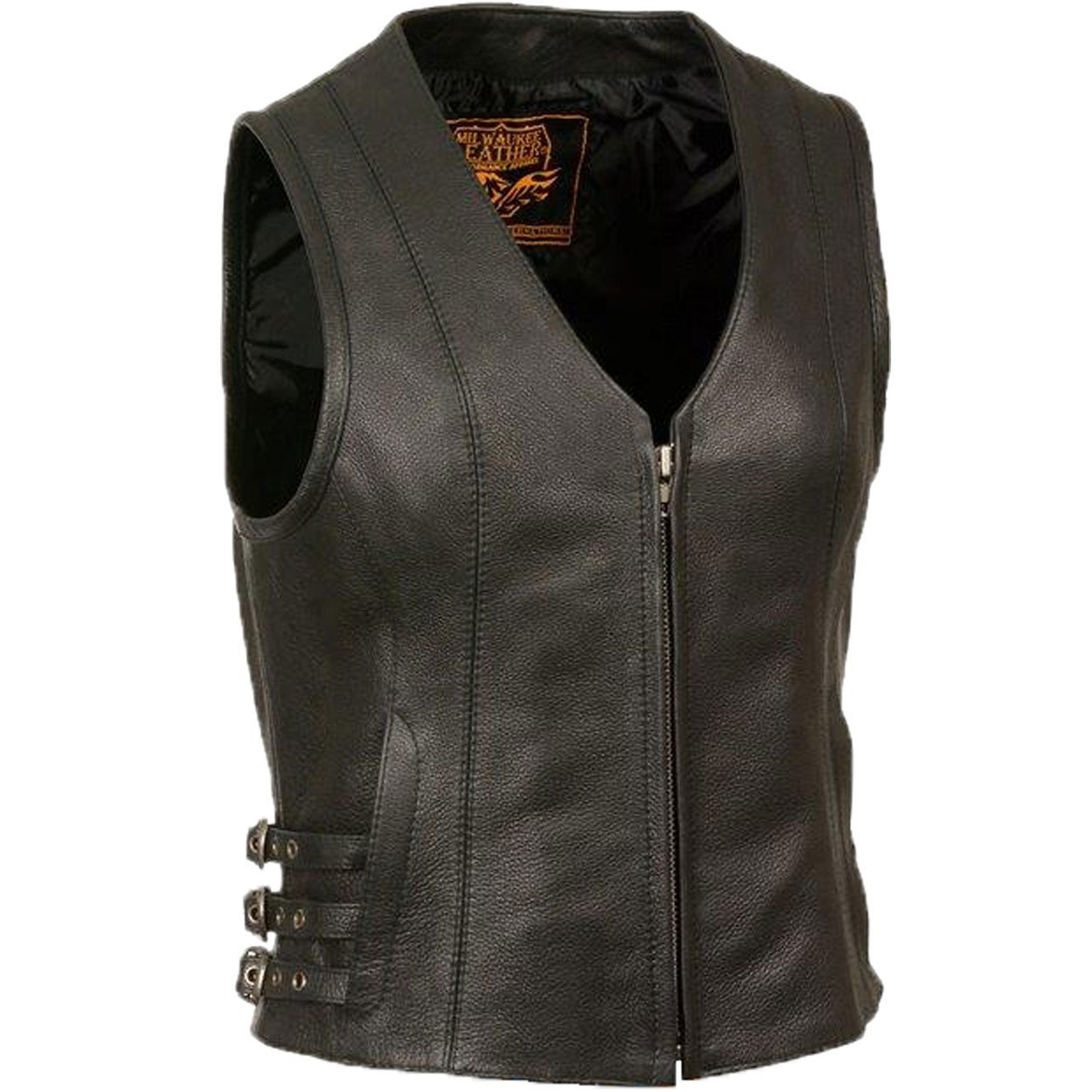 Milwaukee Leather Women Vest with V Shape Front Zipper and Side Belt Buckles Adjusters