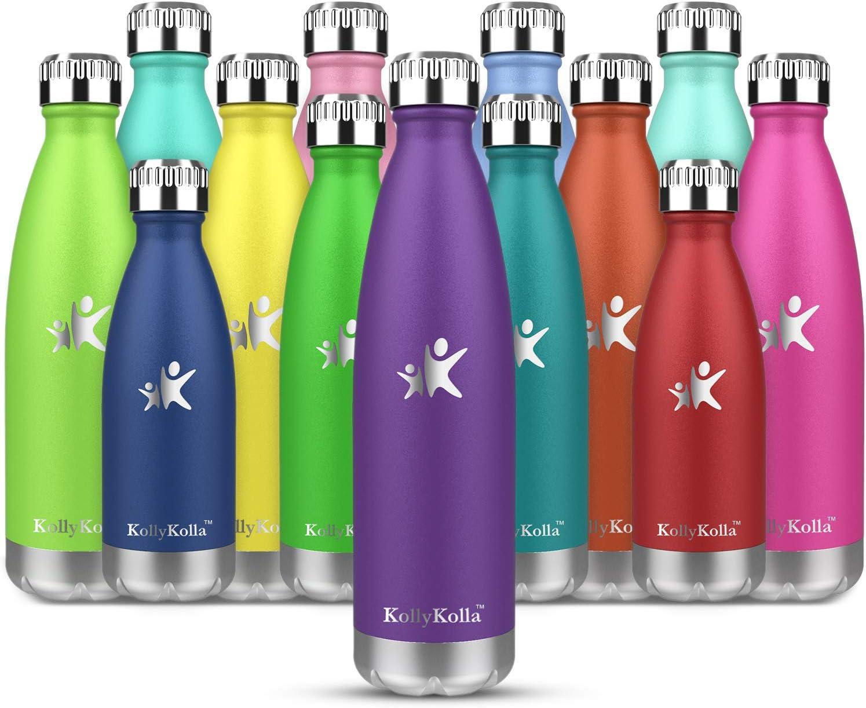 KollyKolla Botella de Agua Acero Inoxidable - 350ml/500ml/650ml/750ml, Termo Sin BPA Ecológica, Botellas Termica Reutilizable Frascos Térmicos para Niños & Adultos, Deporte, Oficina, Yoga, Ciclism