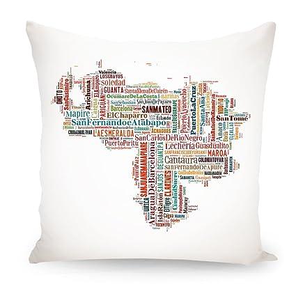 """artboxone Cojín tipografía Cartografía de viaje/Países """"Venezuela Map Multicolor Impreso en"""