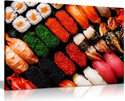 Sushi Set Japanese Food Canvas Wall Art Picture Print 36x24in