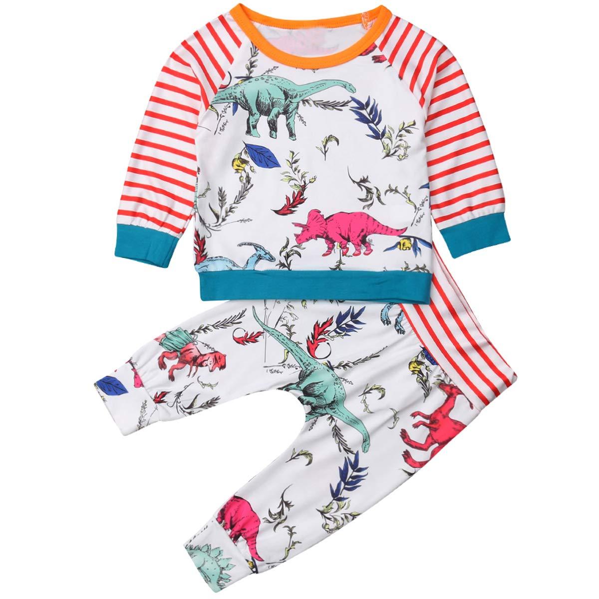 bd098aa06 Amazon.com: Dinosaur Baby Boy Outfit, Newborn Baby Animal Striped Shirt Top  Legging Pants 2pcs Baby Dino Clothes: Clothing