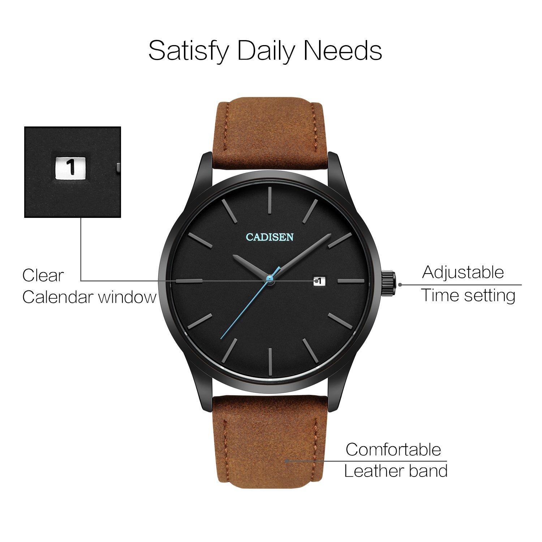 adb213b6544a CADISEN Mens Gift Waterproof Casual Classic Leather Band Quartz Watch   Amazon.co.uk  Watches