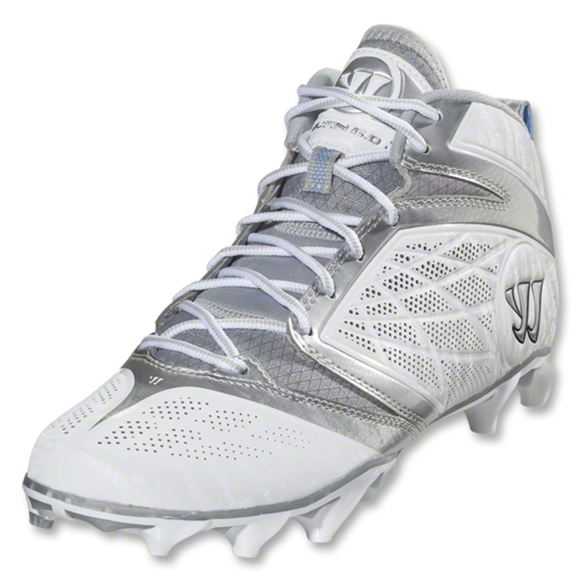 Warrior Men's Burn Speed 6.0 Mid Lacrosse Cleats - White/silver