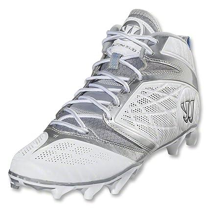 93f20a8659d1 Warrior Men's Burn Speed 6.0 Mid Lacrosse Cleats - Size: 11, White/silver