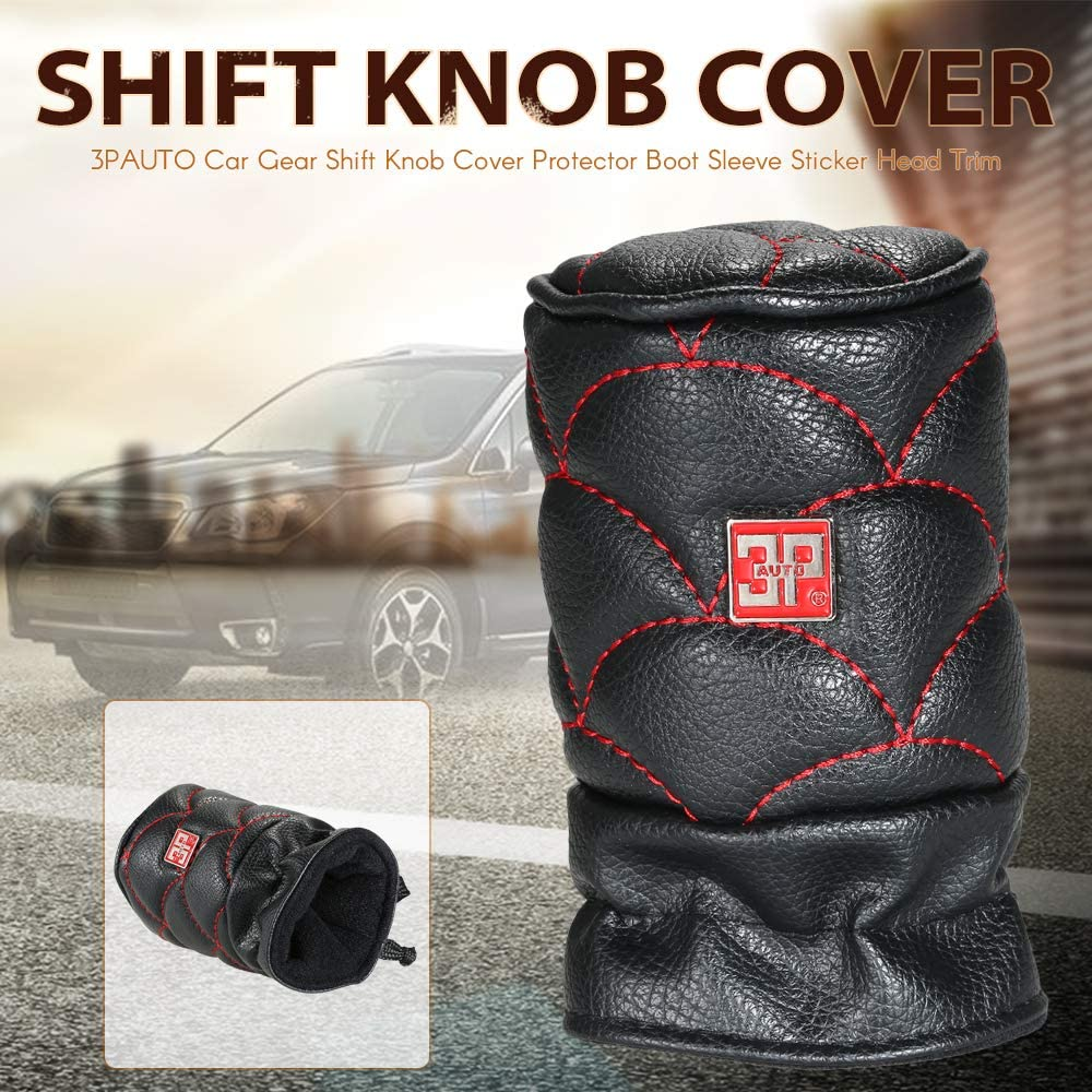 Kmoon Car Gear Shift Knob Cover Protector Boot Sleeve Sticker Head Trim Red