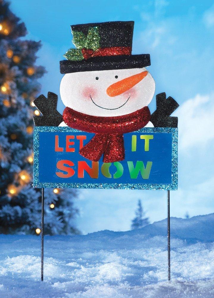 LED ''Let it Snow'' Snowman Garden Stake, Snowman