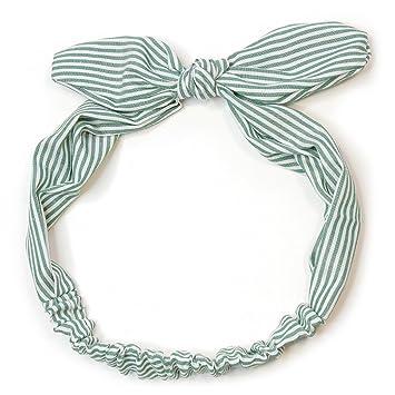 Lunji - Diadema de rayas bohemias con lazo, elástica, turbante y turbante para yoga