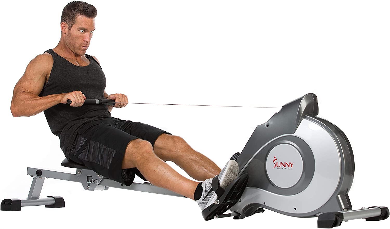 Amazon.com : Sunny Health & Fitness Magnetic Rowing Machine Rower w/ LCD Monitor : Sports & Outdoors