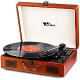 Tocadiscos - Amzdeal Tocadiscos de Vinilo Vintage DJ Bluetooth Portátil 3 Velocidades 33/45/78 con 2 Altavoces…