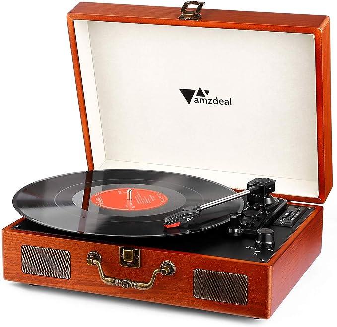 Tocadiscos - Amzdeal Tocadiscos de Vinilo Vintage DJ Bluetooth Portátil 3 Velocidades 33/45/78 con 2 Altavoces Incorporados, Multifuncional con ...