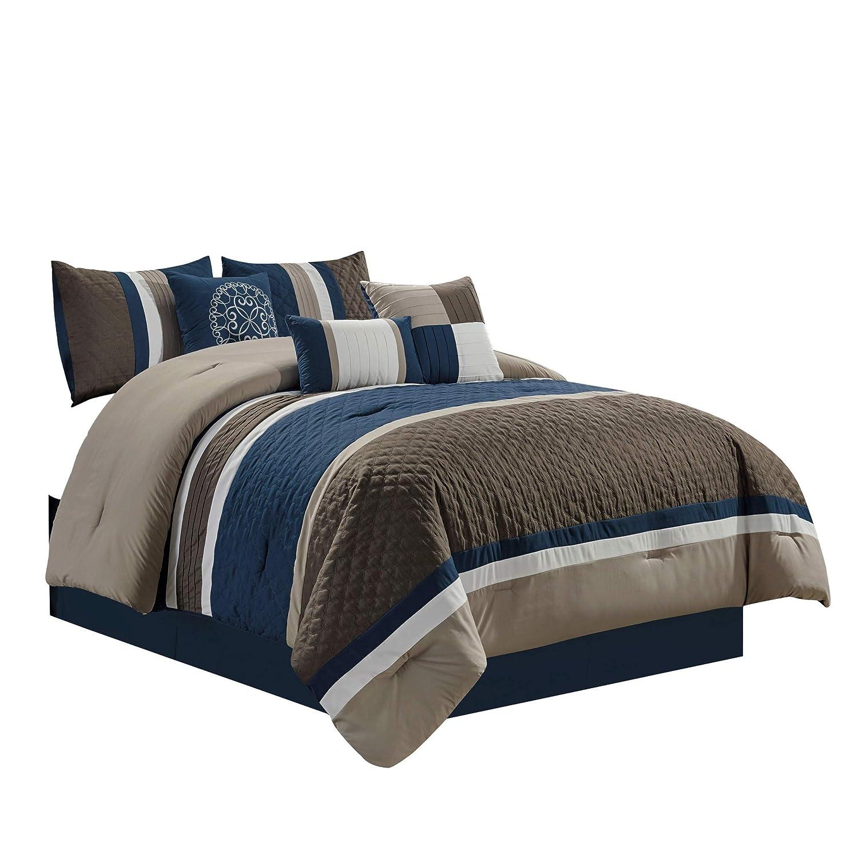 Chezmoi Collection Boston 7-Piece Pinsonic Quilted Trellis Quatrefoil Design Striped Pleated Bedding Comforter Set (Full, Navy)
