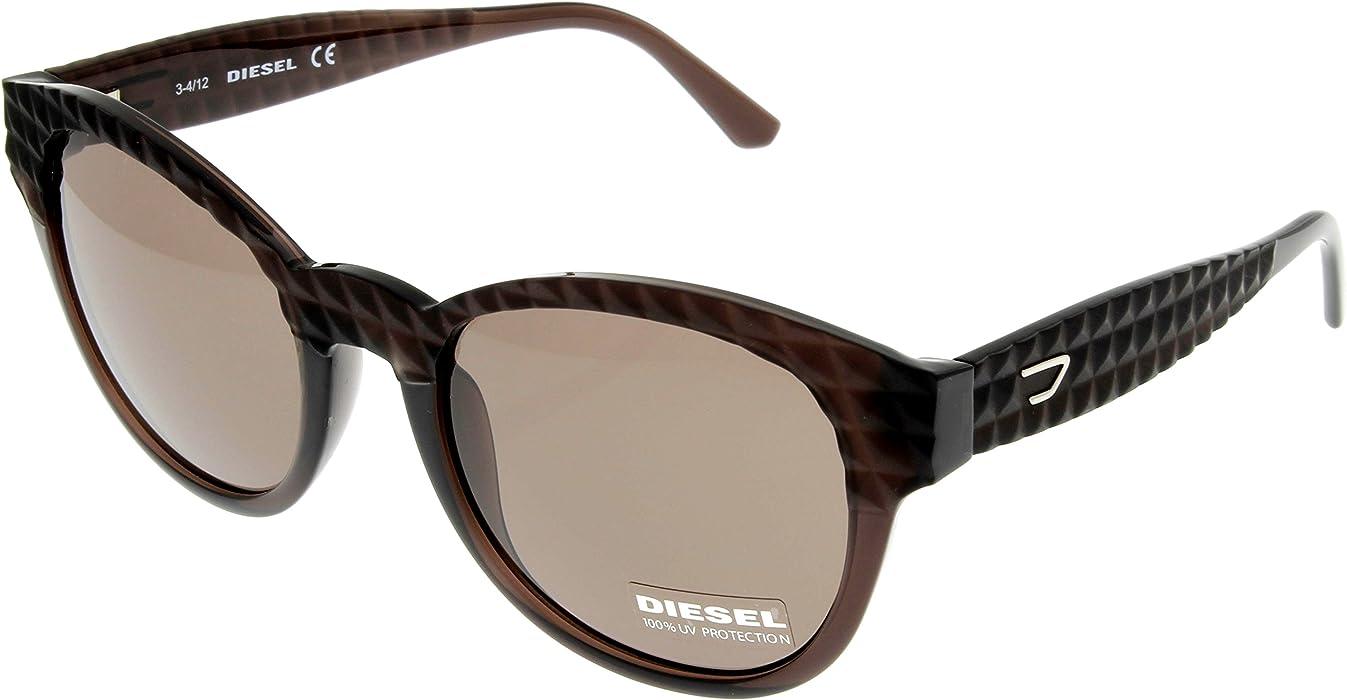 8bbbbad8c9 Diesel Sunglasses 100% UV Protection Dark Brown Unisex DL0045 48E Round