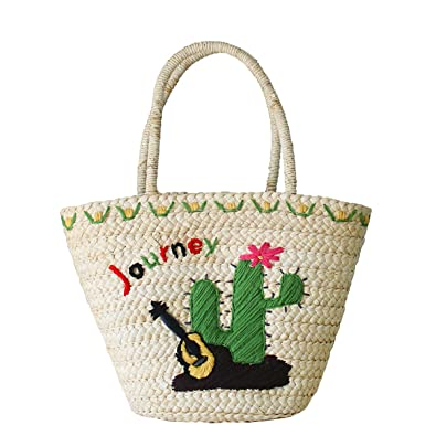 72712bb293 Amazon.com  Straw Bags Cute Embroidered Straw Purses Summer Tote Handbags  for Women