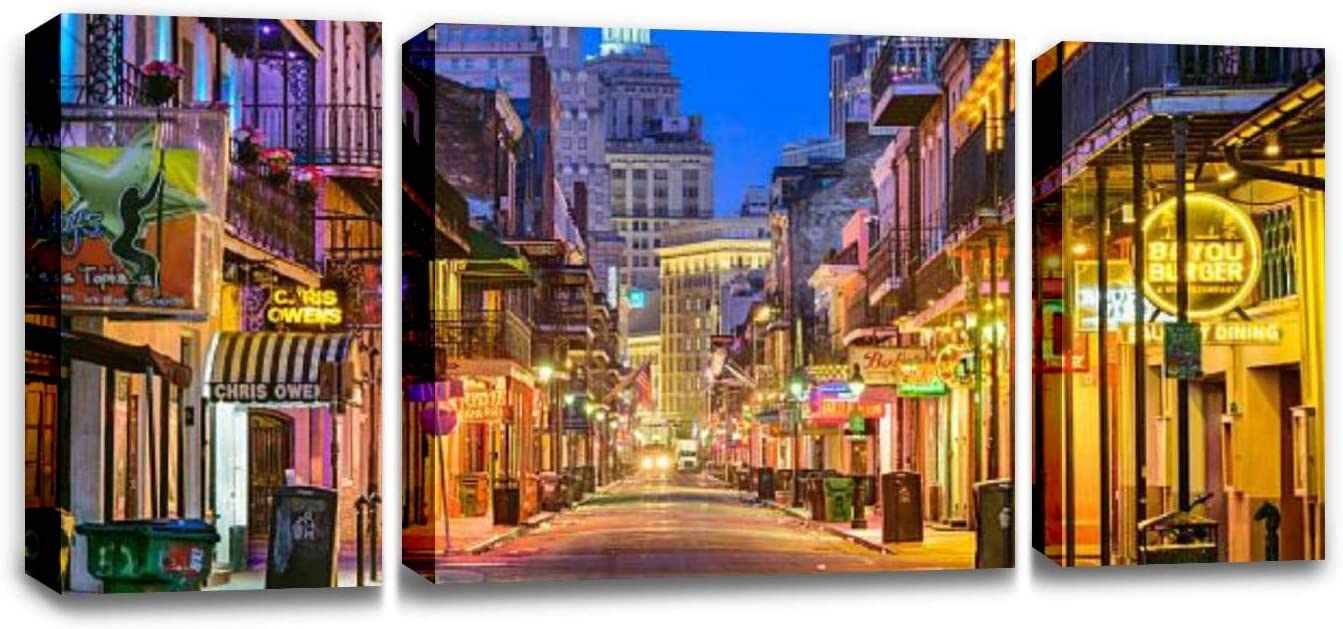 CCArtist Bourbon Street New Orleans citys and Pictures Wall Decor Print on Canvas Modern Artwork Living Room Bedroom Painting Art Wall