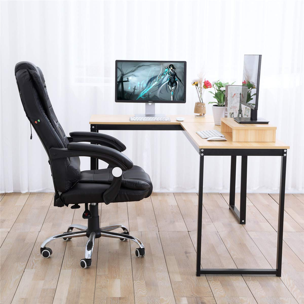 Wood /& Metal Free Monitor Stand Computer Desk Beech Wood Grain ZCH L-Shaped Large Corner PC Laptop Study Table Workstation Gaming Writing Desk for Home Office