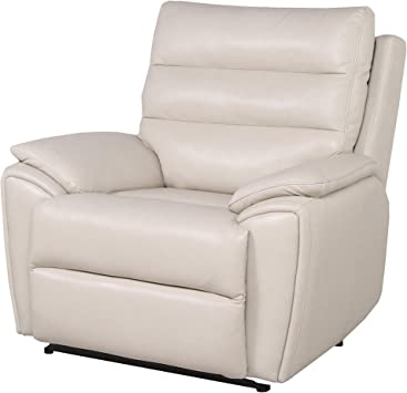 : Steve Silver Duval Ivory Leather Power Recliner