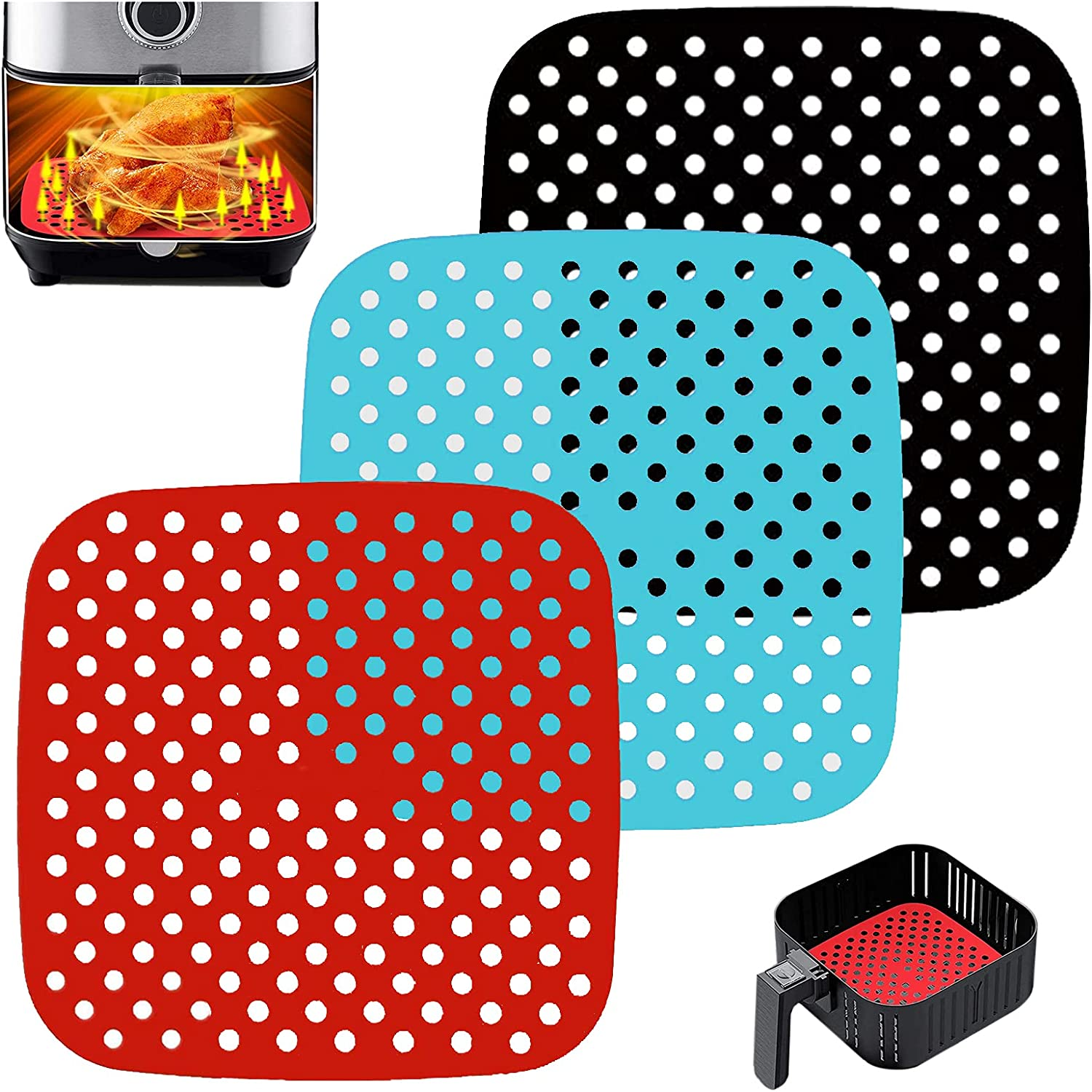 3 PCS Reusable Air Fryer Liners,Square Air Fryer Silicone Liners for Air Fryer Basket,Non-Stick Air Fryer Accessories Basket Mats Replacement for Parchment Paper, BPA Free. (Black Red Blue, 8.5 in)