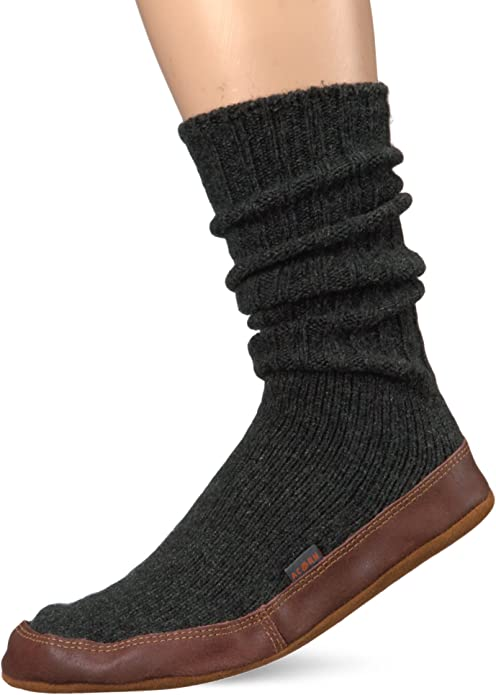 Acorn Unisex Slipper Sock, Charcoal Ragg Wool, XXX-Large(13.5-14.5 Men's) B US