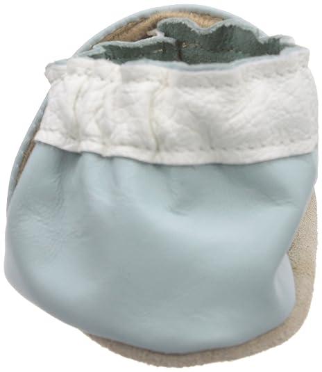 Jack & Chaîne Marguerite Bleu Lys Lumière - Cuir Bébé Apprentissage Pantoufles, Couleur Bleu, Taille 21/22