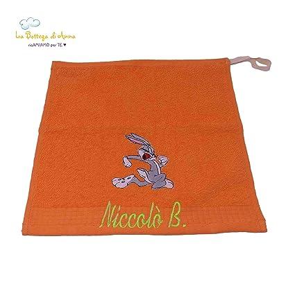 Toalla de rizo de algodón color naranja, con bordado Cartoon Bugs Bunny personalizado con nombre