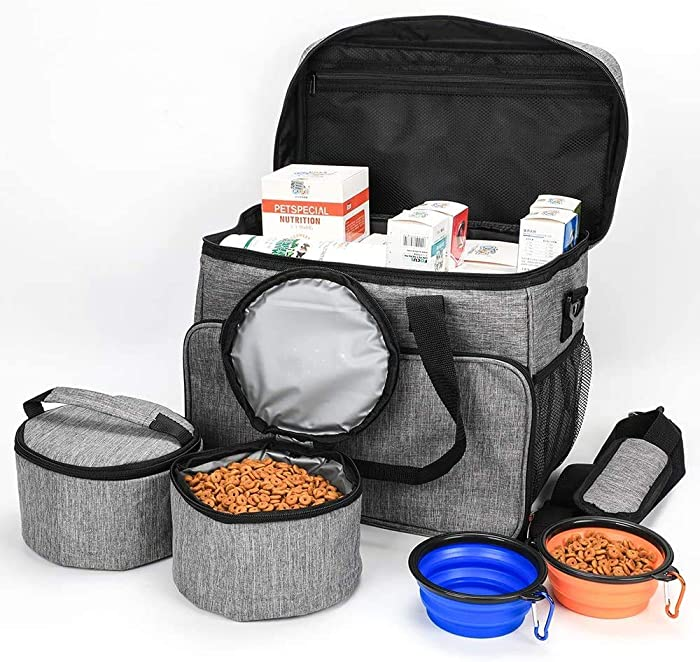 HonourHope Dog Travel Bag - Airline Approved Travel Set for Dogs, Puppy Cat Pet Tote Organizer with Multi-Function Pockets, Dog Food Container Bag and Dog Collapsible Bowl - Gray