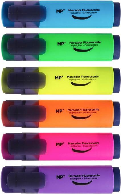 MP - Subrayadores Fluorescentes, Punta Biselada - Estuche 6 Marcadores Multicolor: Amazon.es: Oficina y papelería