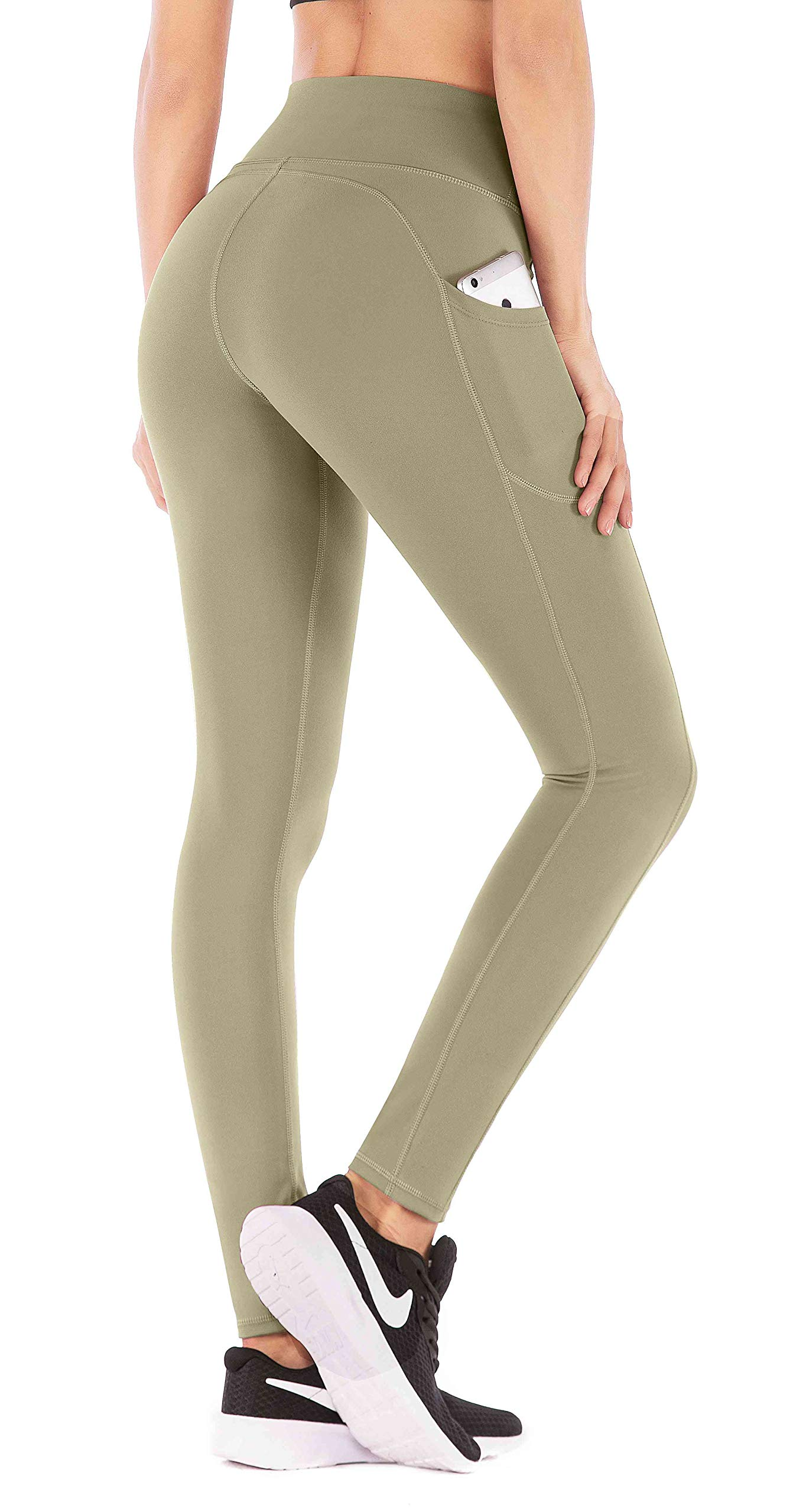 IUGA High Waist Yoga Pants with Pockets, Tummy Control, Workout Pants for Women 4 Way Stretch Yoga Leggings with Pockets (Olive, X-Small) by IUGA