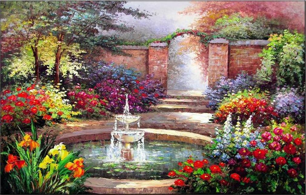 Pittura a olio di paesaggio giardino dipinta a mano su tela senza cornice Wall Art pronta ad appendere per soggiorno e Studio 60 * 90cm XIAOMEI