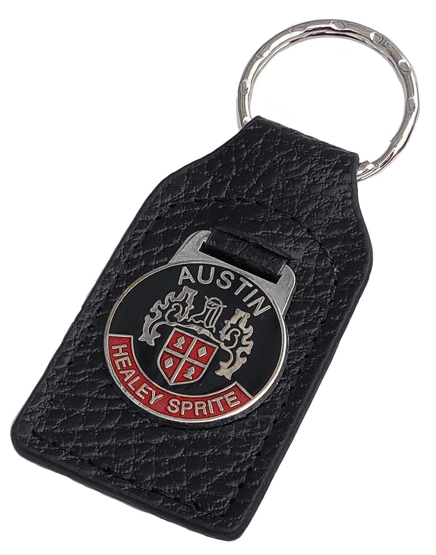 Red Triple-C Austin-Healey Sprite Leather and Enamel Key Ring Key Fob FOB/_AH-SPR-RD