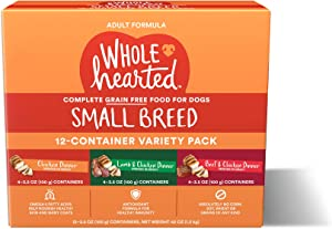 WholeHearted Grain Free Small Breed Minced in Gravy Adult Wet Dog Food Variety Pack, 3.5 oz., Count of 12