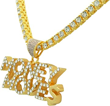 Yellow Gold-Tone Hip Hop Bling Simulated Crystal Rearing Bronco Horse Pendant with 24 Tennis Chain and 24 Rope Chain