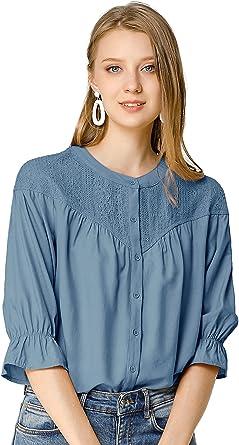 Allegra K Blusa De Encaje Botón Abajo Mangas 3/4 Color Sólido Camisa para Mujer