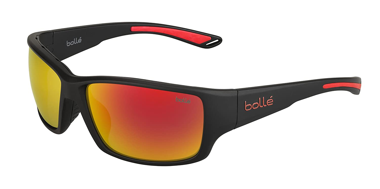 Bolle 12367 Kayman Matte Black Red Sunglasses TNS Fire Lens Medium Thermogrip