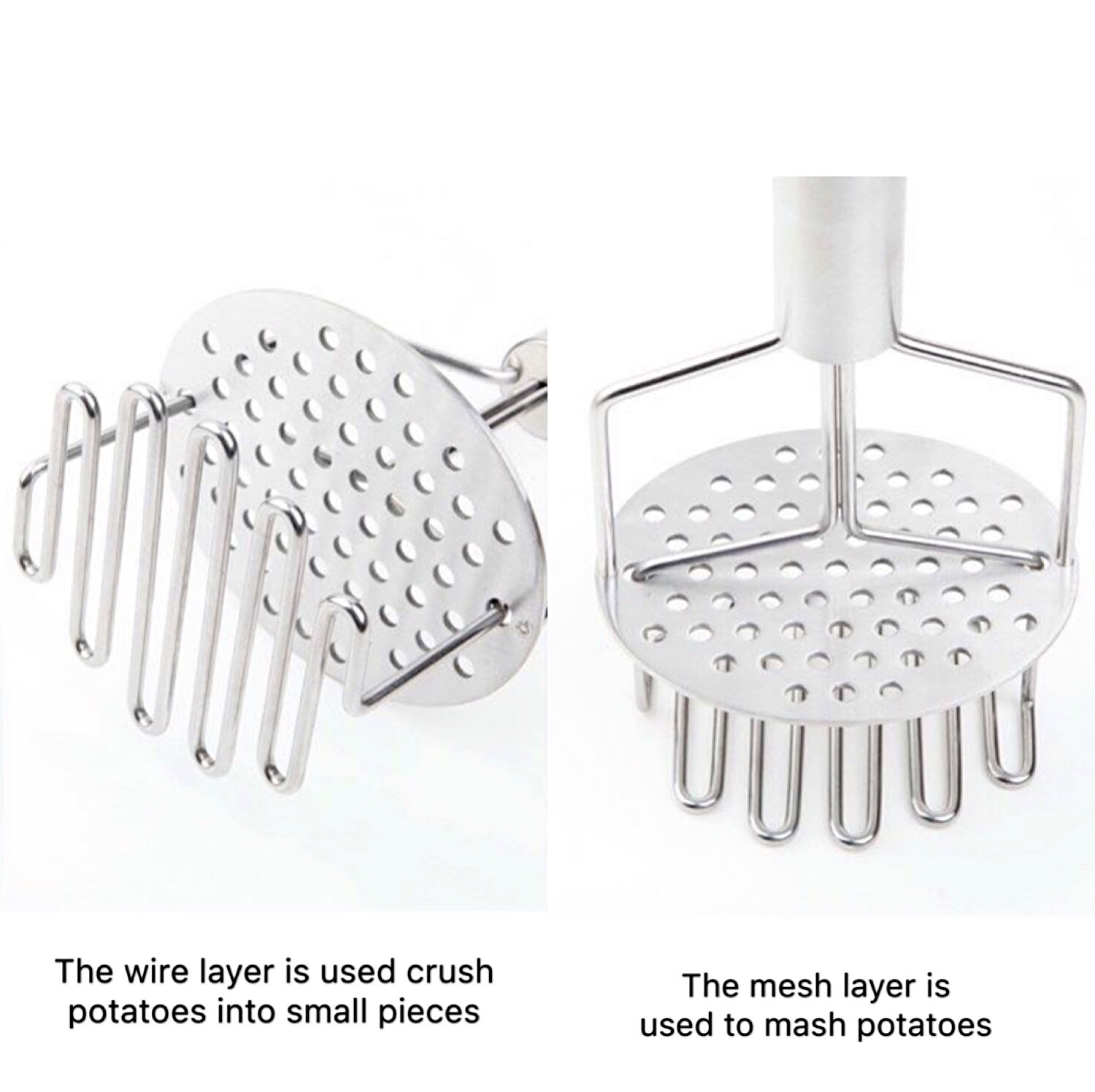 Freetor Dual-Action Stainless Steel Potato Masher with Ergonomic Handle.Excellent for mash potatoes, Vegetables and fruits.
