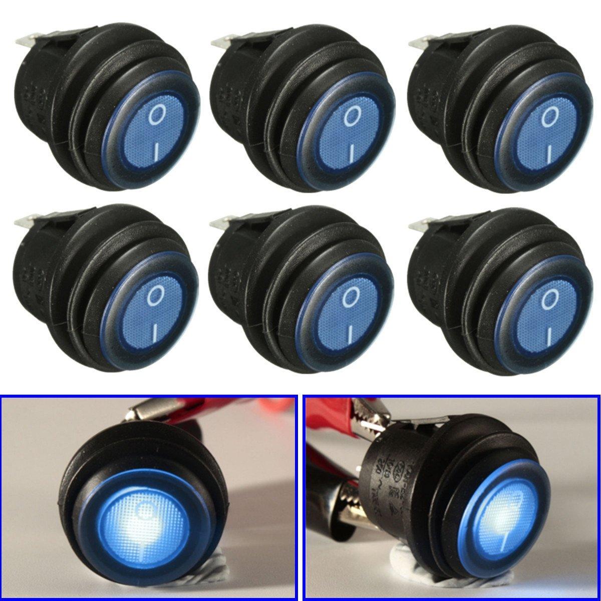 Audew 6 x 12VDC 3-Pin LED Lumineux On / Off SPST Interrupteur à Bascule Étanche Pour Voiture Van Bateau Bleu product image