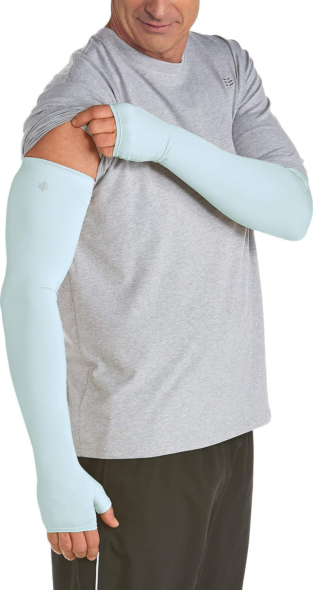 Coolibar UPF 50+ Unisex UV Protection Sleeves - Sun Protective (Large- Light Blue)