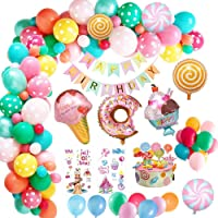 MMTX Birthday Party Decorations,Candyland Birthday Party Supply with Happy Birthday Banner, Candy Donut Ice Cream Foil Balloon for Girls Kids Women Candyland Lollipop Party