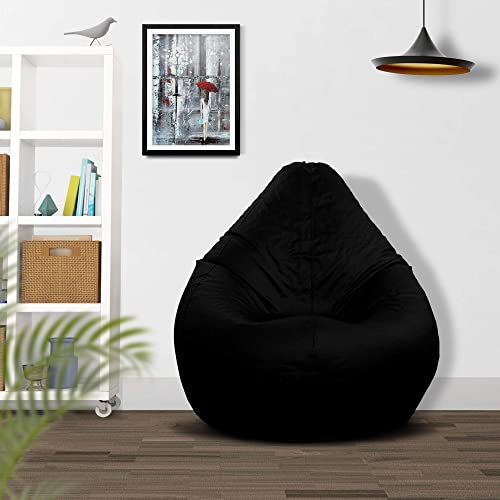 Ample Decor Indoor Outdoor Relaxing High Back Gaming Bean Bag Chair Cover, Large Leatherette Furniture Bean Bag Cover Without Fillers, Black XXL