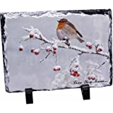 Snow Robin 'Love You Mum' Photo Slate Christmas Gift Ornament